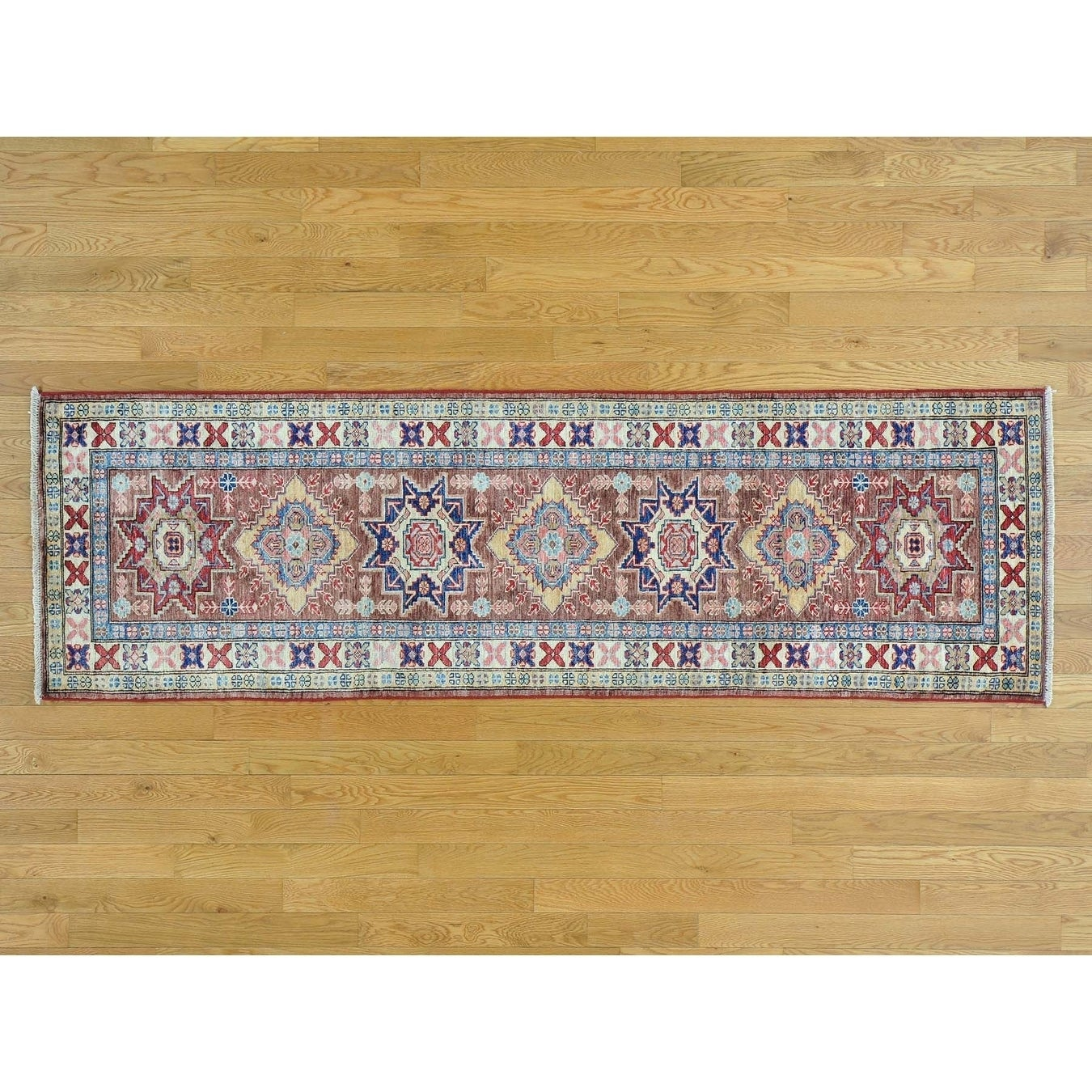 Hand Knotted Brown Kazak with Wool Oriental Rug - 24 x 8