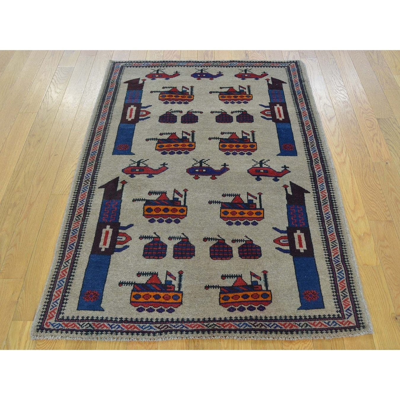 Hand Knotted Beige Tribal & Geometric with Wool Oriental Rug - 3 x 45