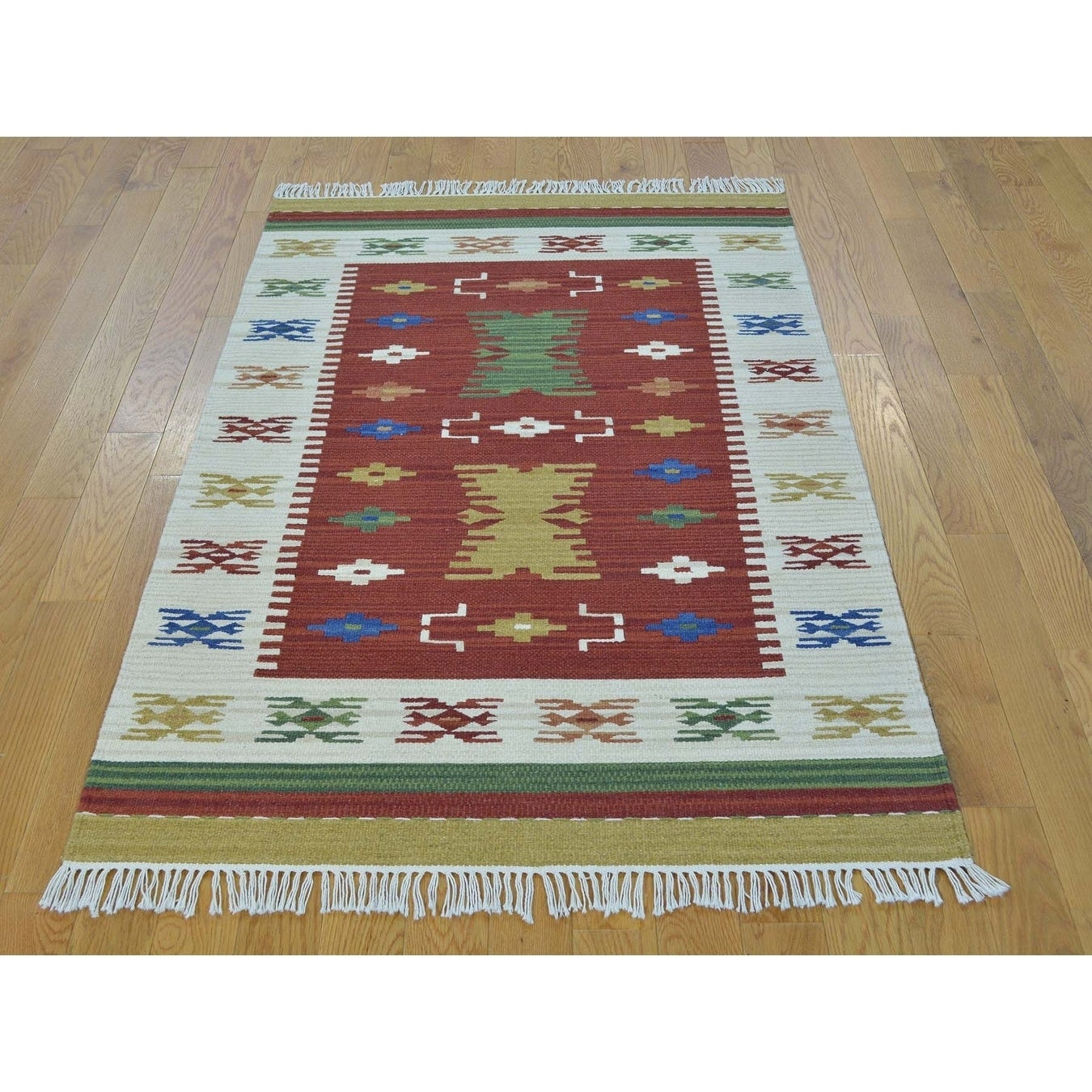 Hand Knotted Red Flat Weave with Wool Oriental Rug - 31 x 51