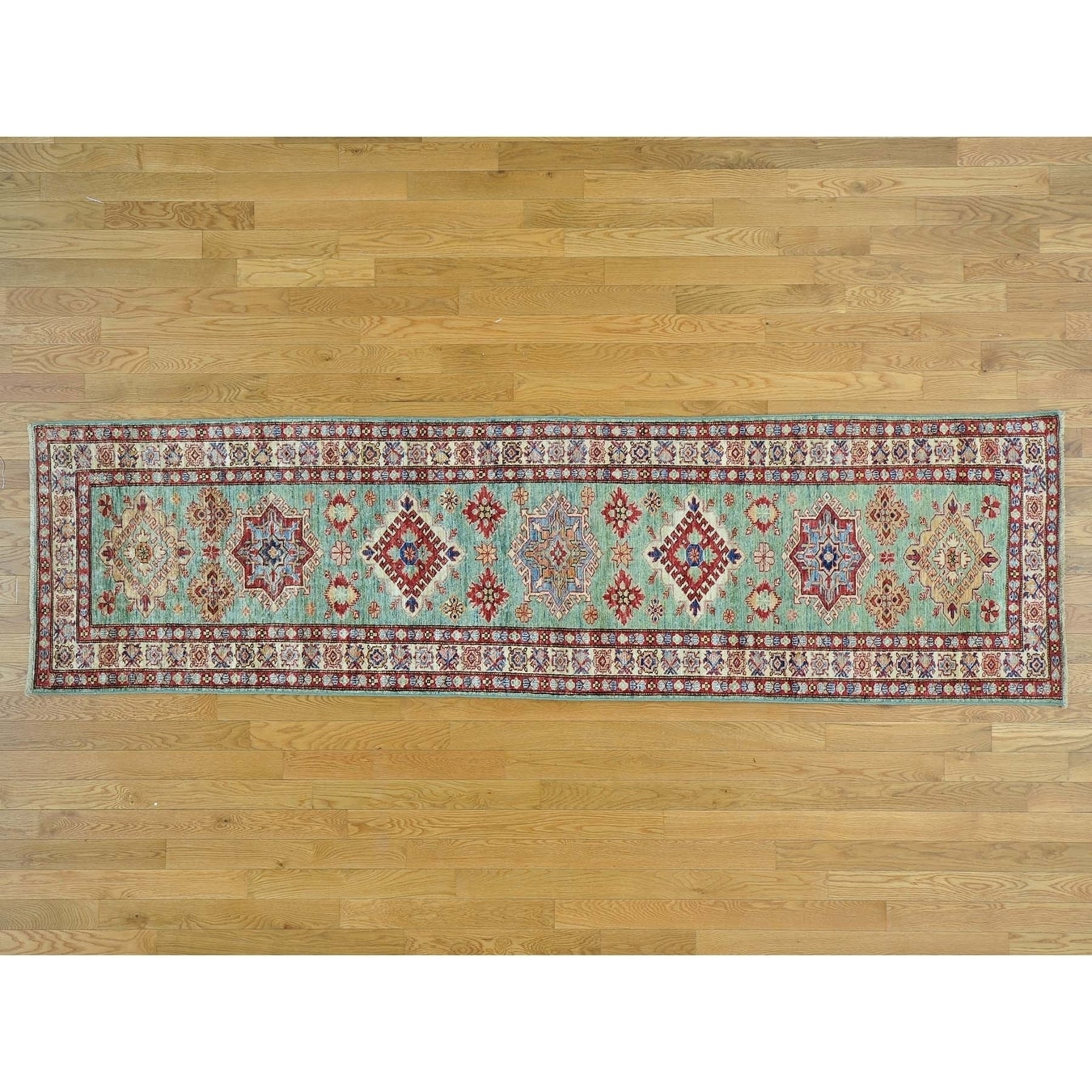 Hand Knotted Teal Kazak with Wool Oriental Rug - 28 x 96