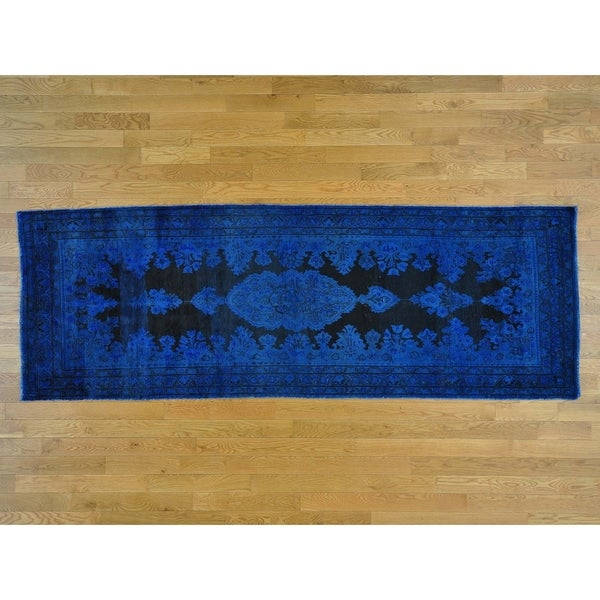 Hand Knotted Blue Overdyed & Vintage with Wool Oriental Rug - 3'7 x 10'3