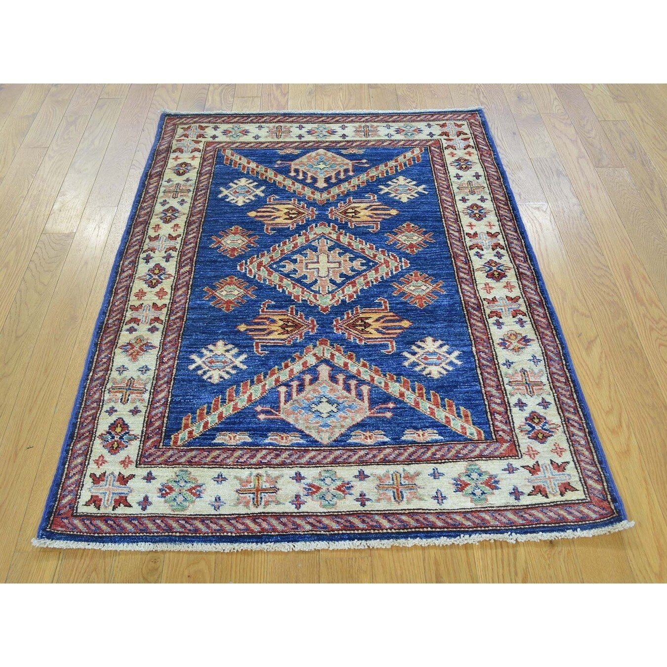 Hand Knotted Blue Kazak with Wool Oriental Rug - 31 x 44