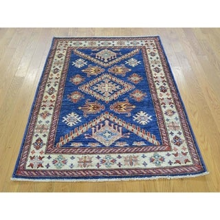 Hand Knotted Blue Kazak with Wool Oriental Rug - 3'1 x 4'4