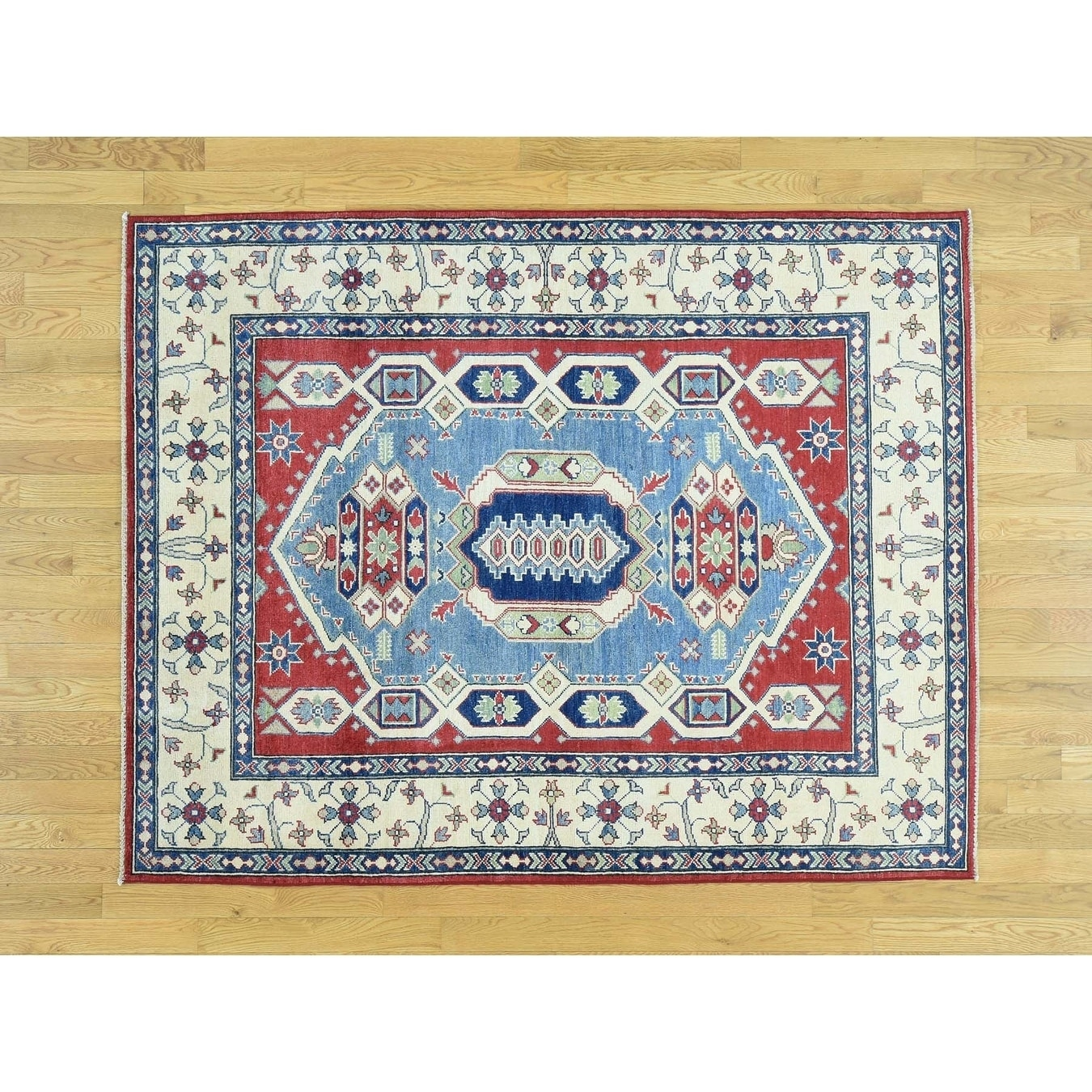 Hand Knotted Blue Kazak with Wool Oriental Rug - 54 x 69
