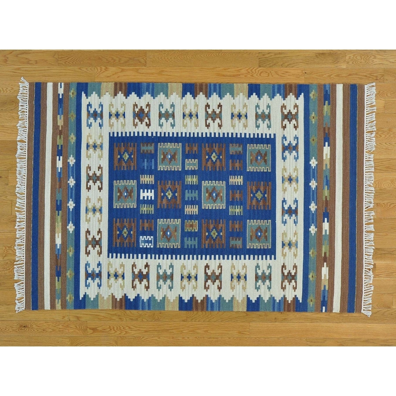 Hand Knotted Multicolored Flat Weave with Wool Oriental Rug - 42 x 61