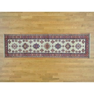 Hand Knotted Ivory Kazak with Wool Oriental Rug - 2'9 x 10'