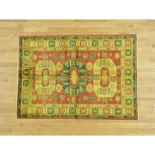 Hand Knotted Yellow Overdyed & Vintage with Wool Oriental Rug - 4'7 x 6'6