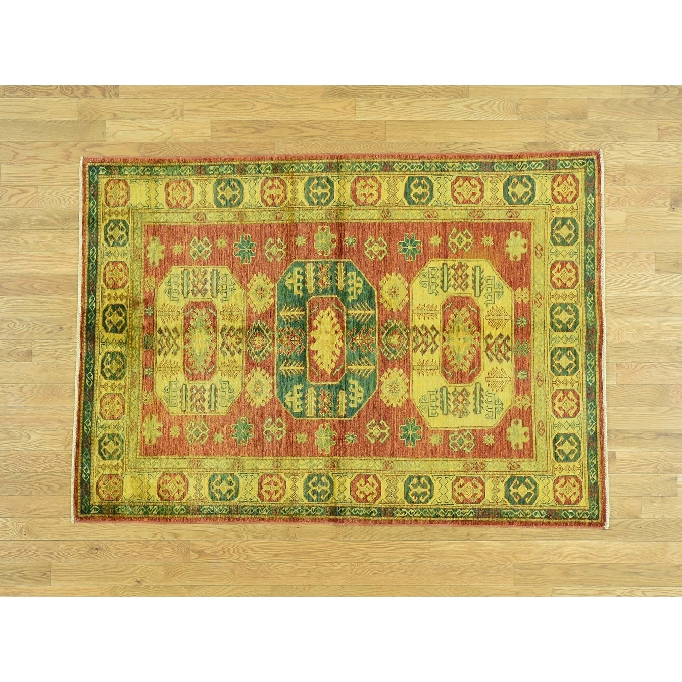 Hand Knotted Yellow Overdyed & Vintage with Wool Oriental Rug - 47 x 66