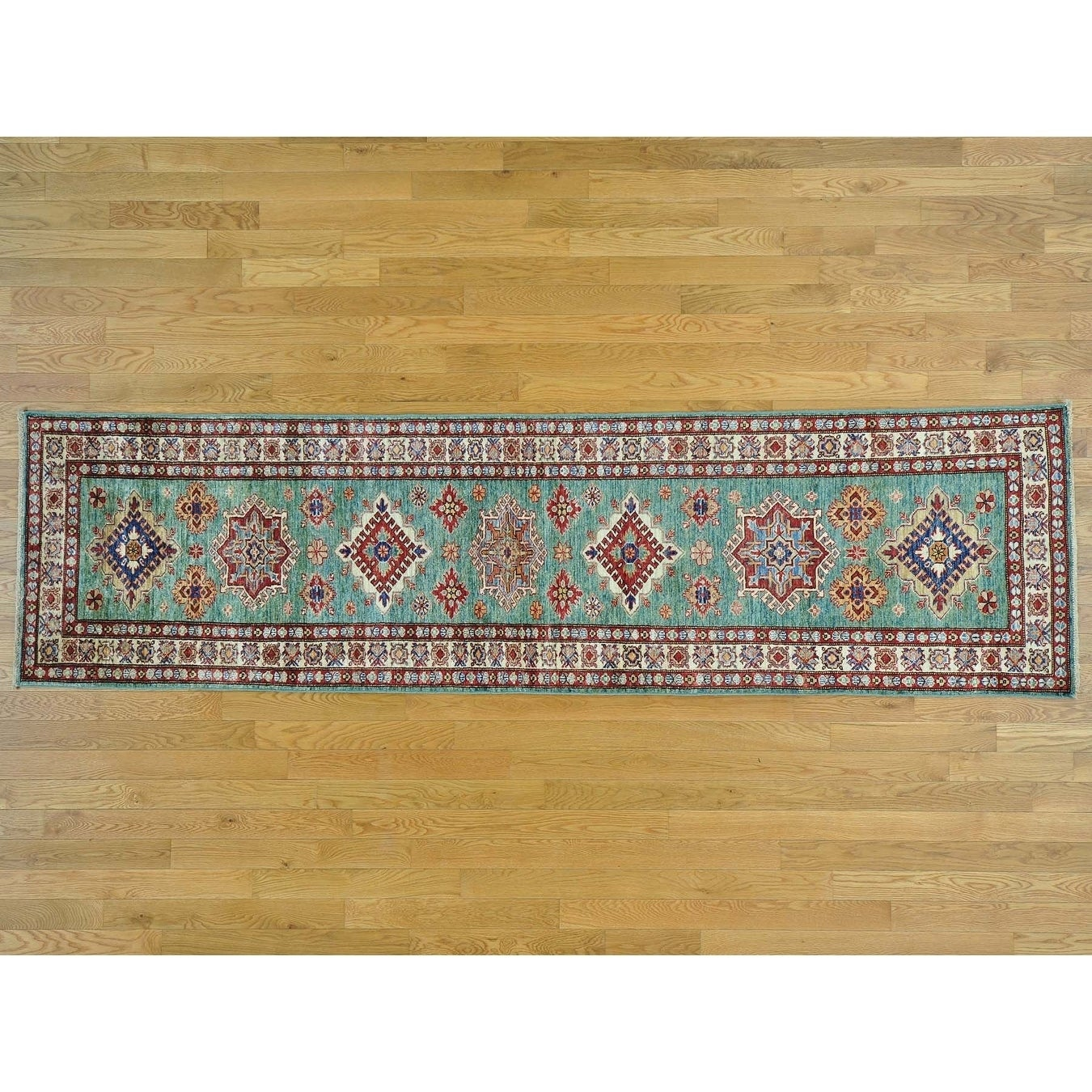 Hand Knotted Teal Kazak with Wool Oriental Rug - 27 x 99
