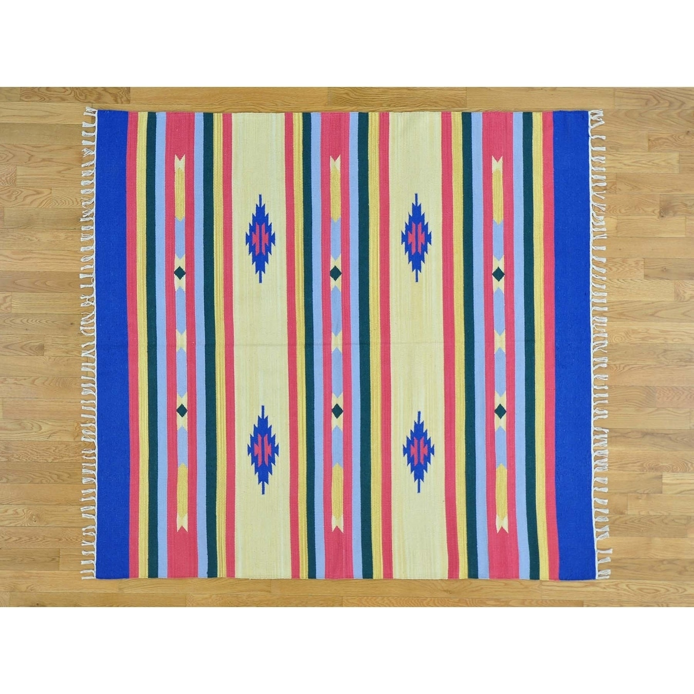 Hand Knotted Multicolored Flat Weave with Cotton Oriental Rug - 6 x 64