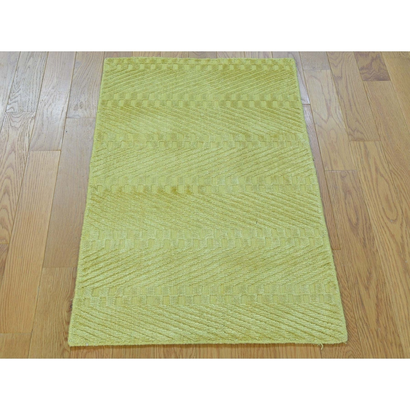 Hand Knotted Yellow Modern & Contemporary with Art Silk Oriental Rug