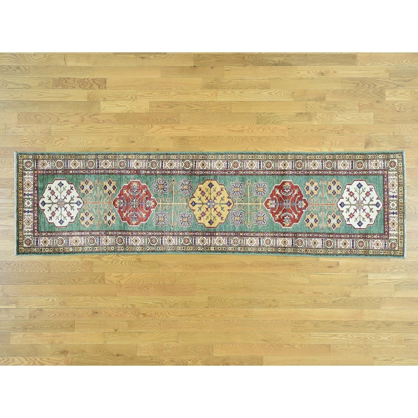 Hand Knotted Green Kazak with Wool Oriental Rug - 28 x 102