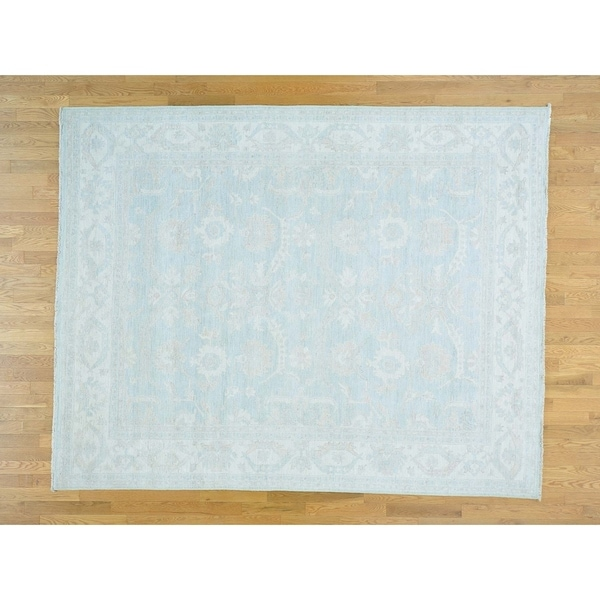Hand Knotted Blue Oushak And Peshawar with Wool Oriental Rug - 8' x 10'1