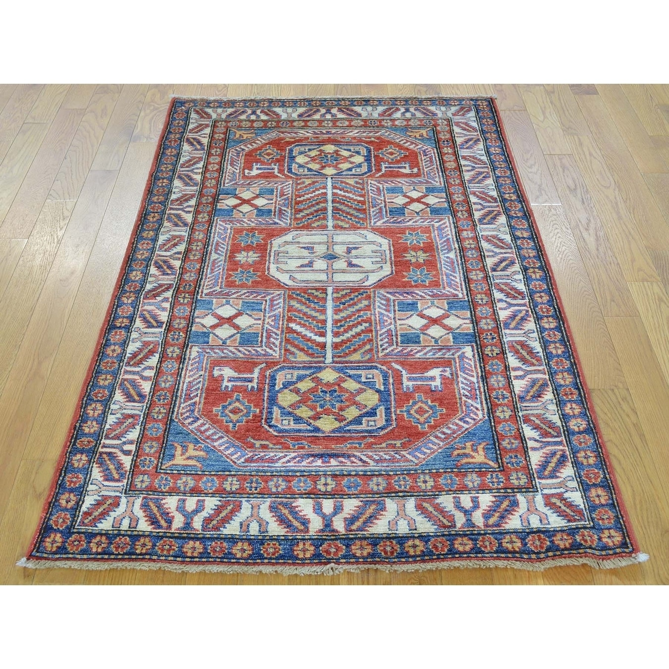 Hand Knotted Red Kazak with Wool Oriental Rug - 33 X 5