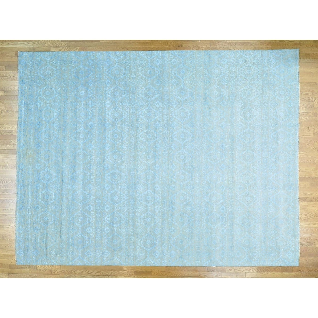 Hand Knotted Beige Ikat And Suzani Design with Wool & Silk Oriental Rug