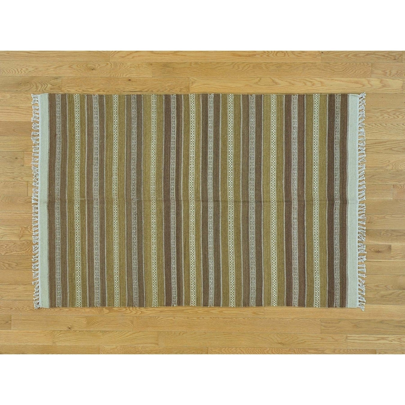 Hand Knotted Multicolored Flat Weave with Wool Oriental Rug - 310 x 510
