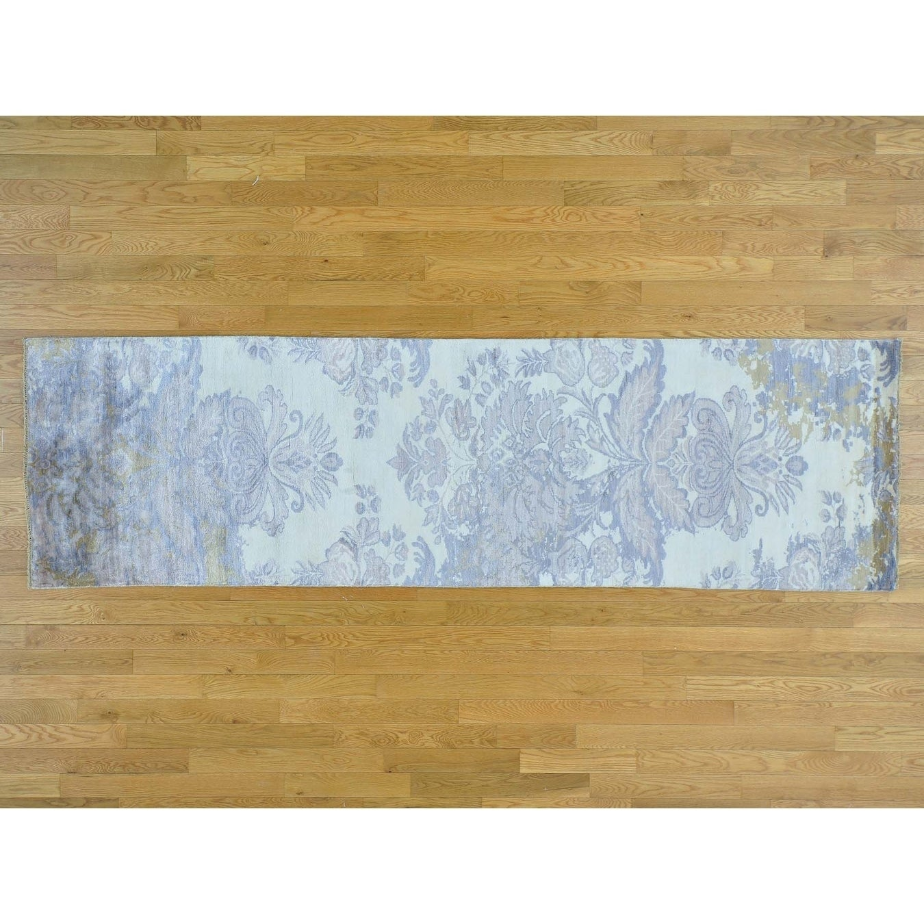 Hand Knotted Ivory Modern & Contemporary with Wool & Silk Oriental Rug - 29 x 97