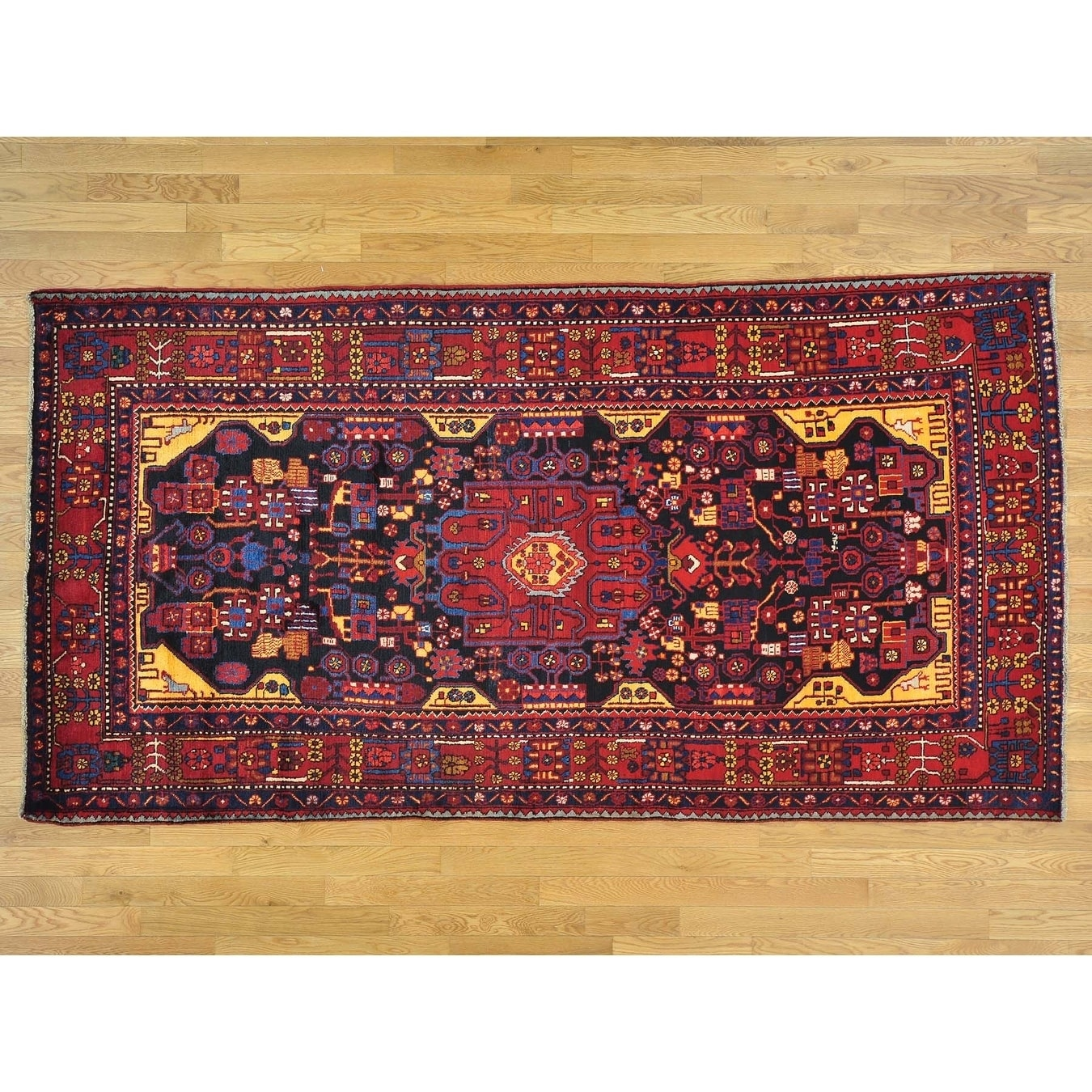 Hand Knotted Blue Persian with Wool Oriental Rug - 5 x 97