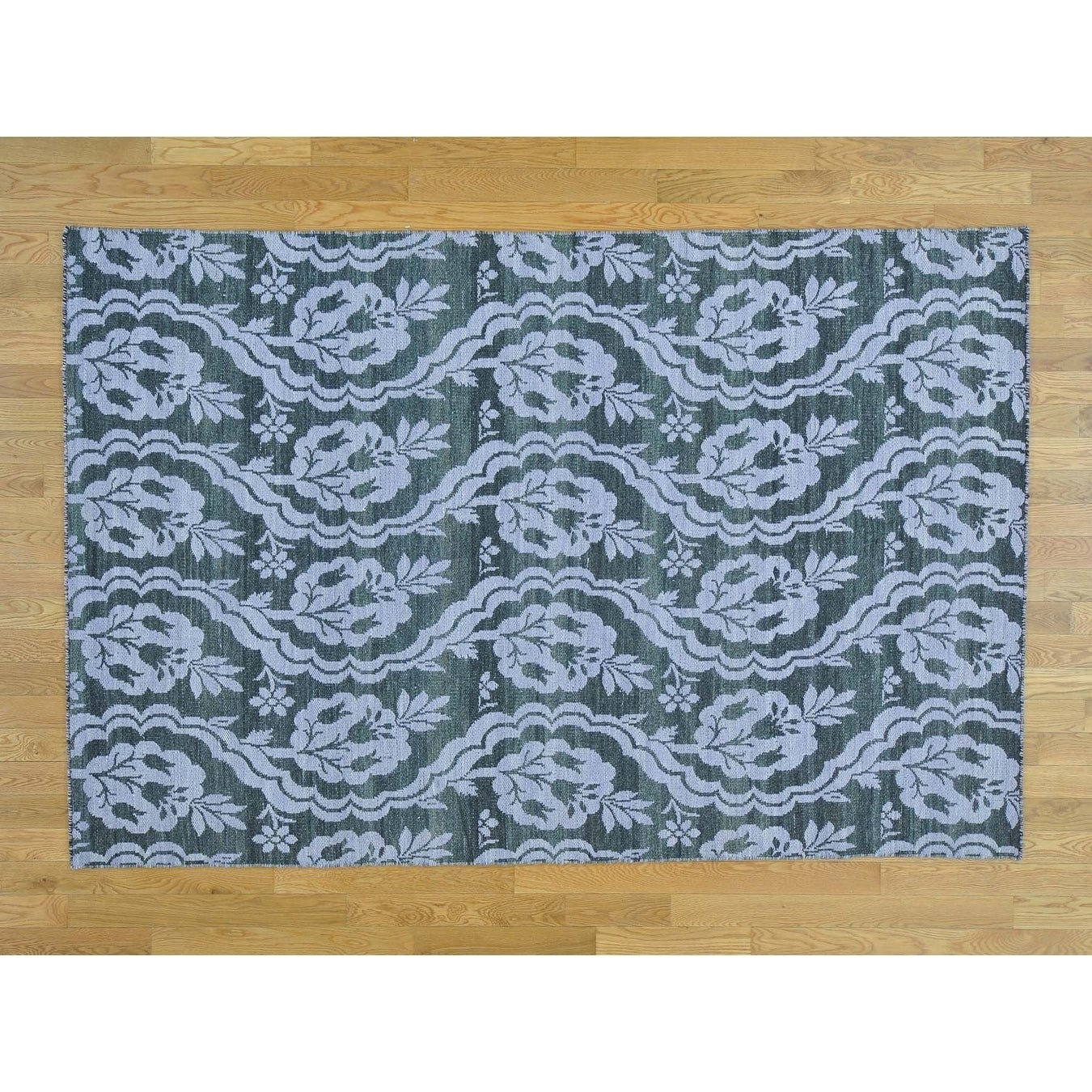 Hand Knotted Grey Flat Weave with Wool Oriental Rug - 53 x 8
