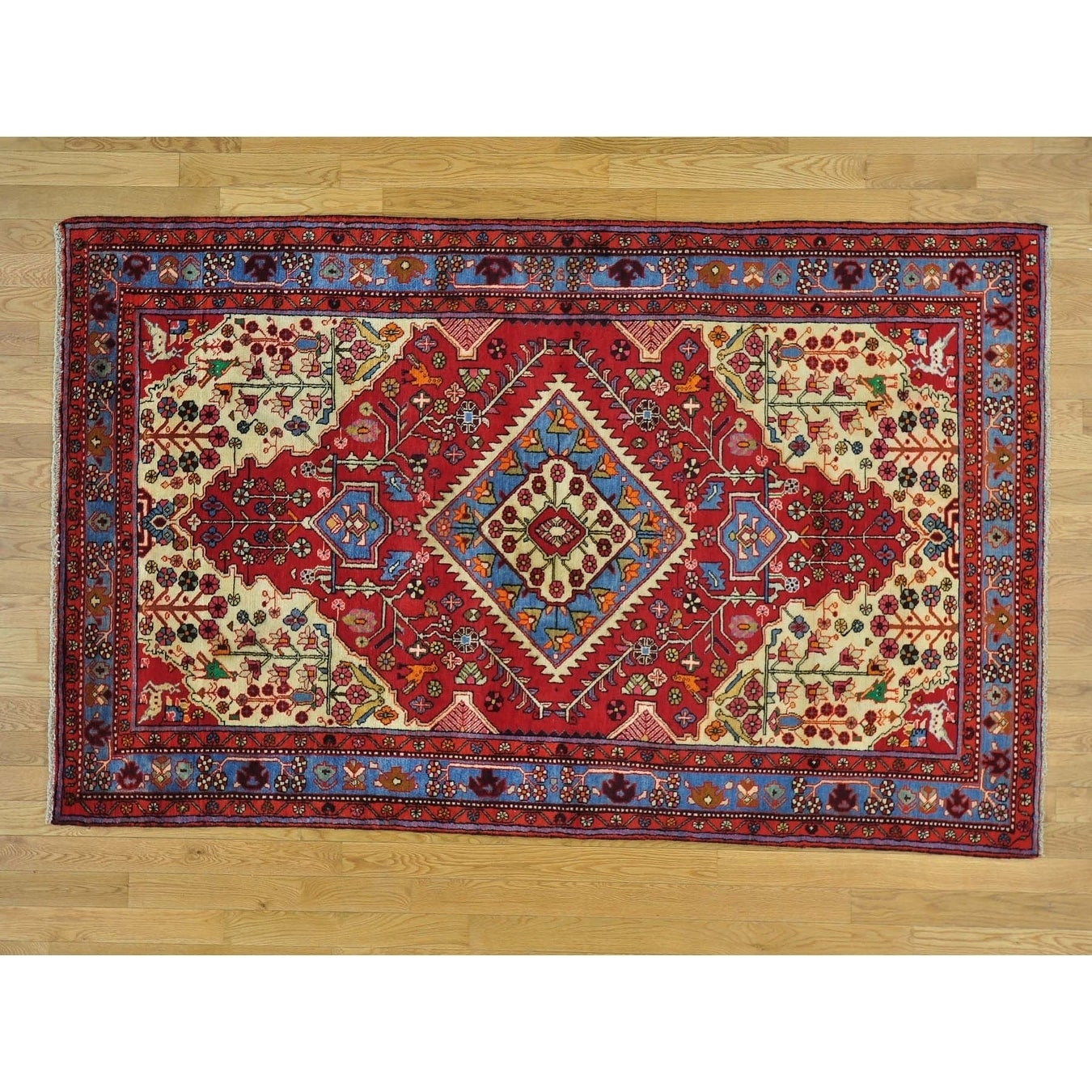 Hand Knotted Red Persian with Wool Oriental Rug - 410 x 79