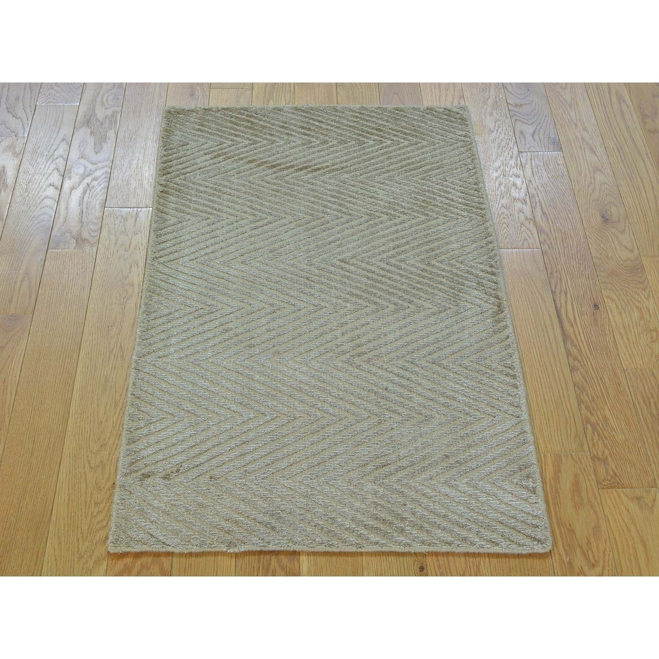 Hand Knotted Beige Modern & Contemporary with Art Silk Oriental Rug - 2 x 3