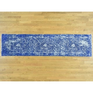 Hand Knotted Blue Modern & Contemporary with Wool & Silk Oriental Rug - 2'5 x 9'8