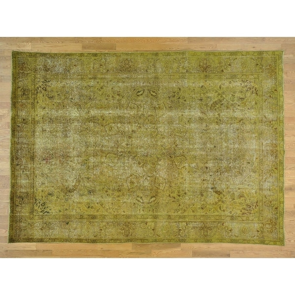 Hand Knotted Yellow Overdyed & Vintage with Wool Oriental Rug - 8' X 11'