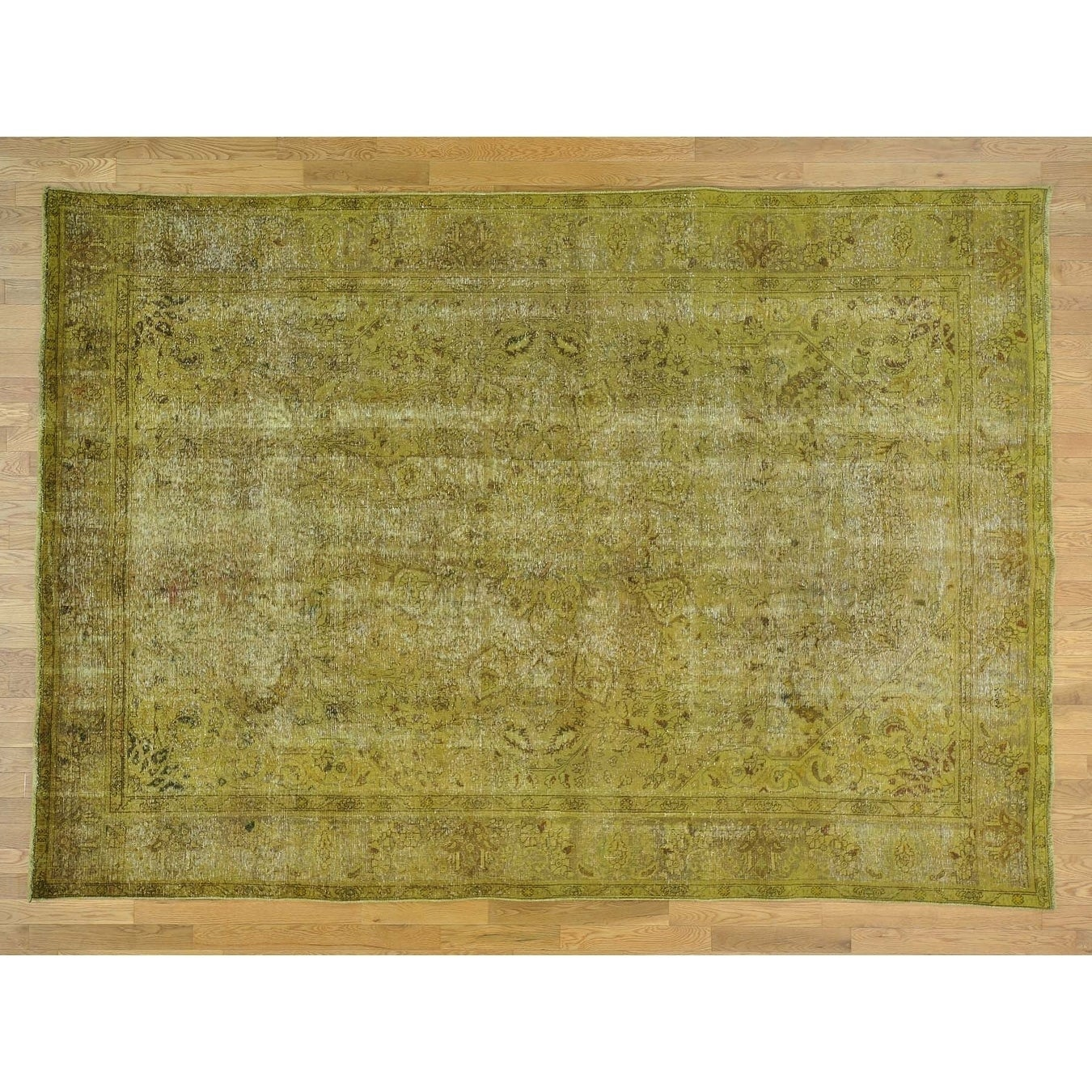 Hand Knotted Yellow Overdyed & Vintage with Wool Oriental Rug - 8 X 11