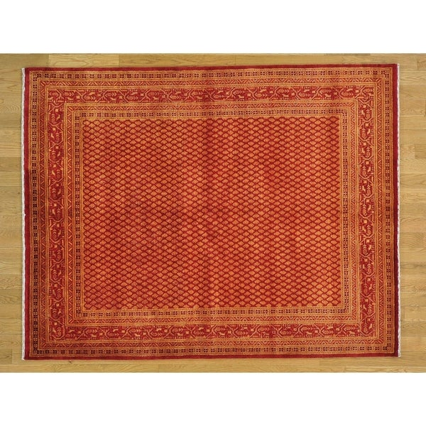 Hand Knotted Red Fine Oriental with Wool & Silk Oriental Rug - 5'5 X 7'