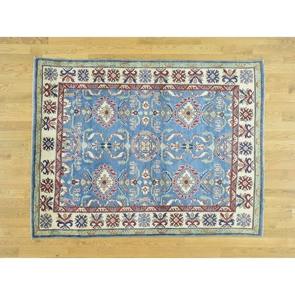 Hand Knotted Blue Kazak with Wool Oriental Rug - 5' x 6'6