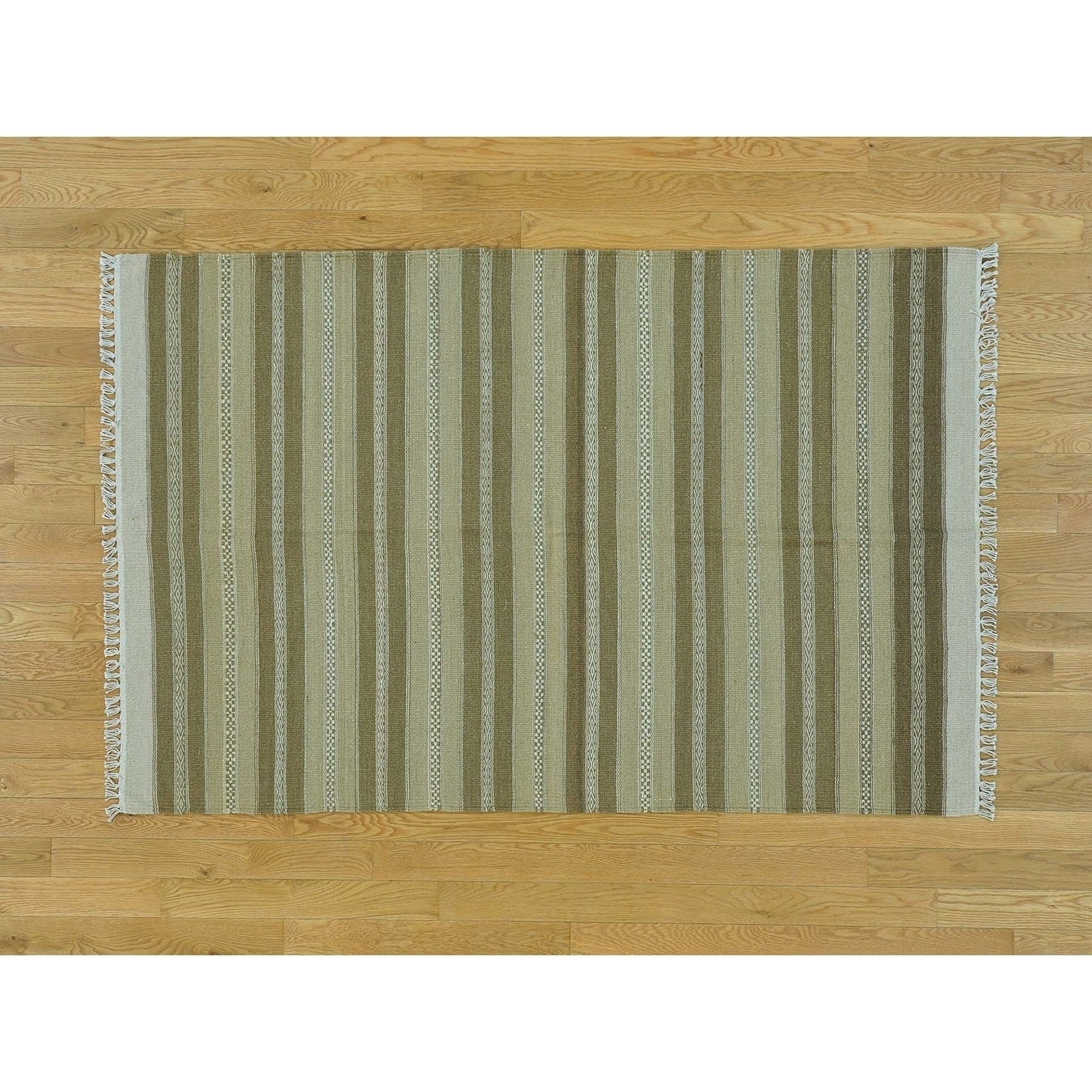 Hand Knotted Multicolored Flat Weave with Wool Oriental Rug - 310 x 6