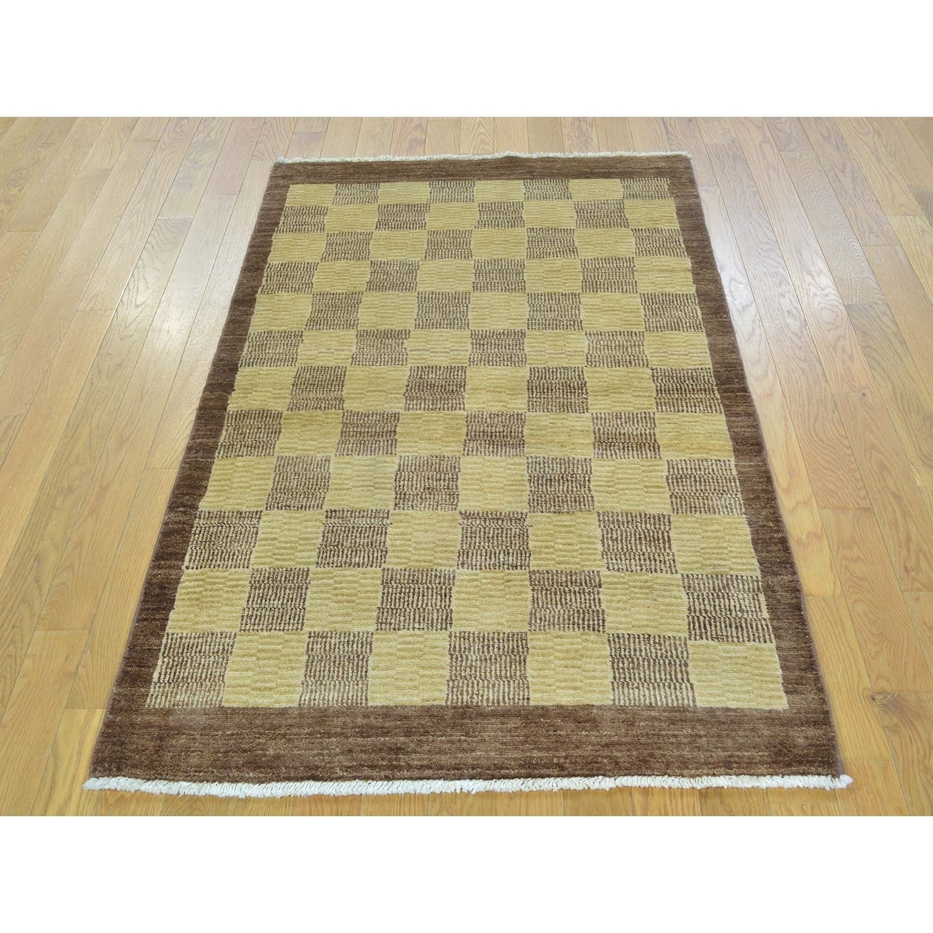 Hand Knotted Multicolored Modern & Contemporary with Wool Oriental Rug - 32 x 54