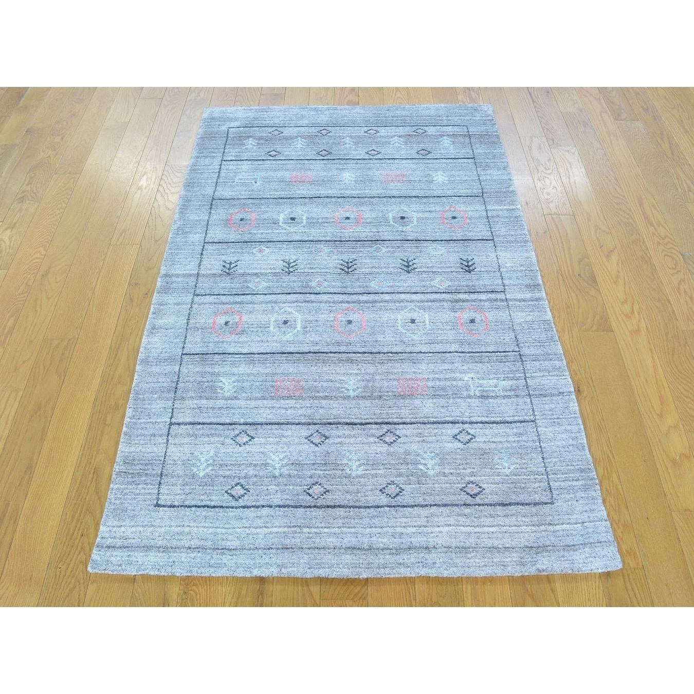 Hand Knotted Grey Modern & Contemporary with Wool & Silk Oriental Rug - 31 x 5