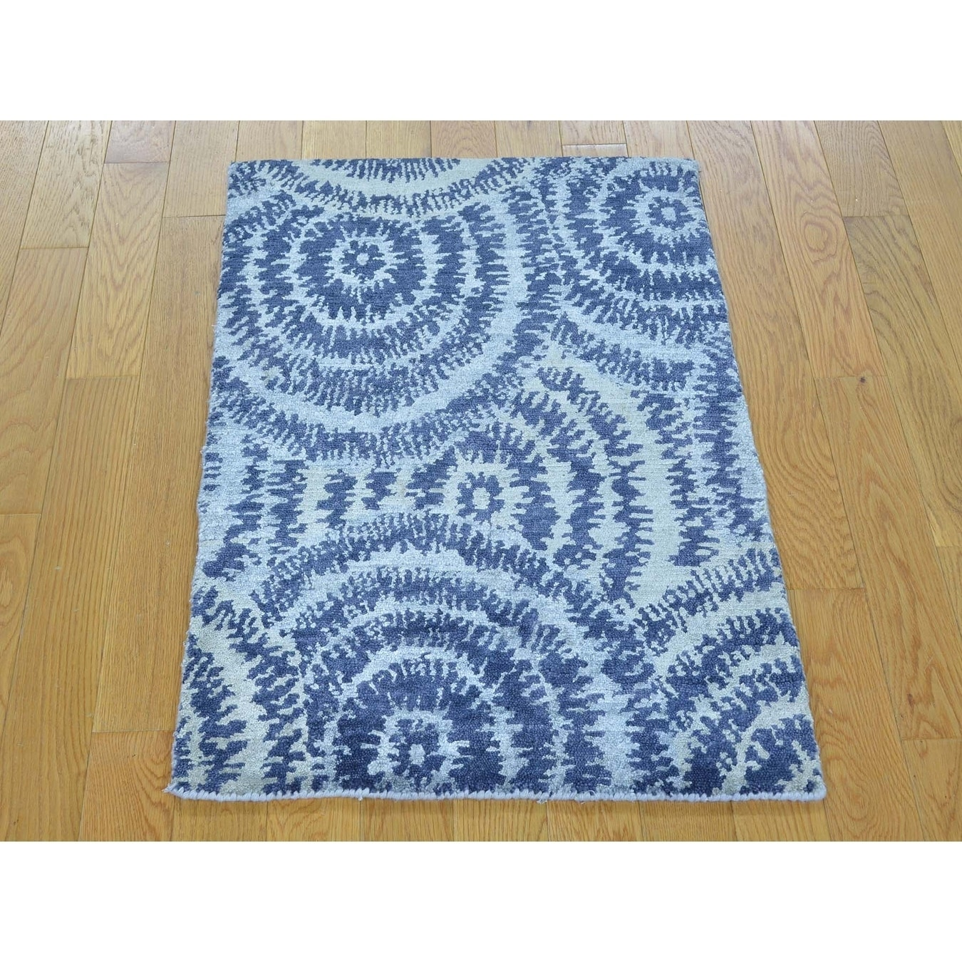 Hand Knotted Blue Modern & Contemporary with Art Silk Oriental Rug - 2 x 210