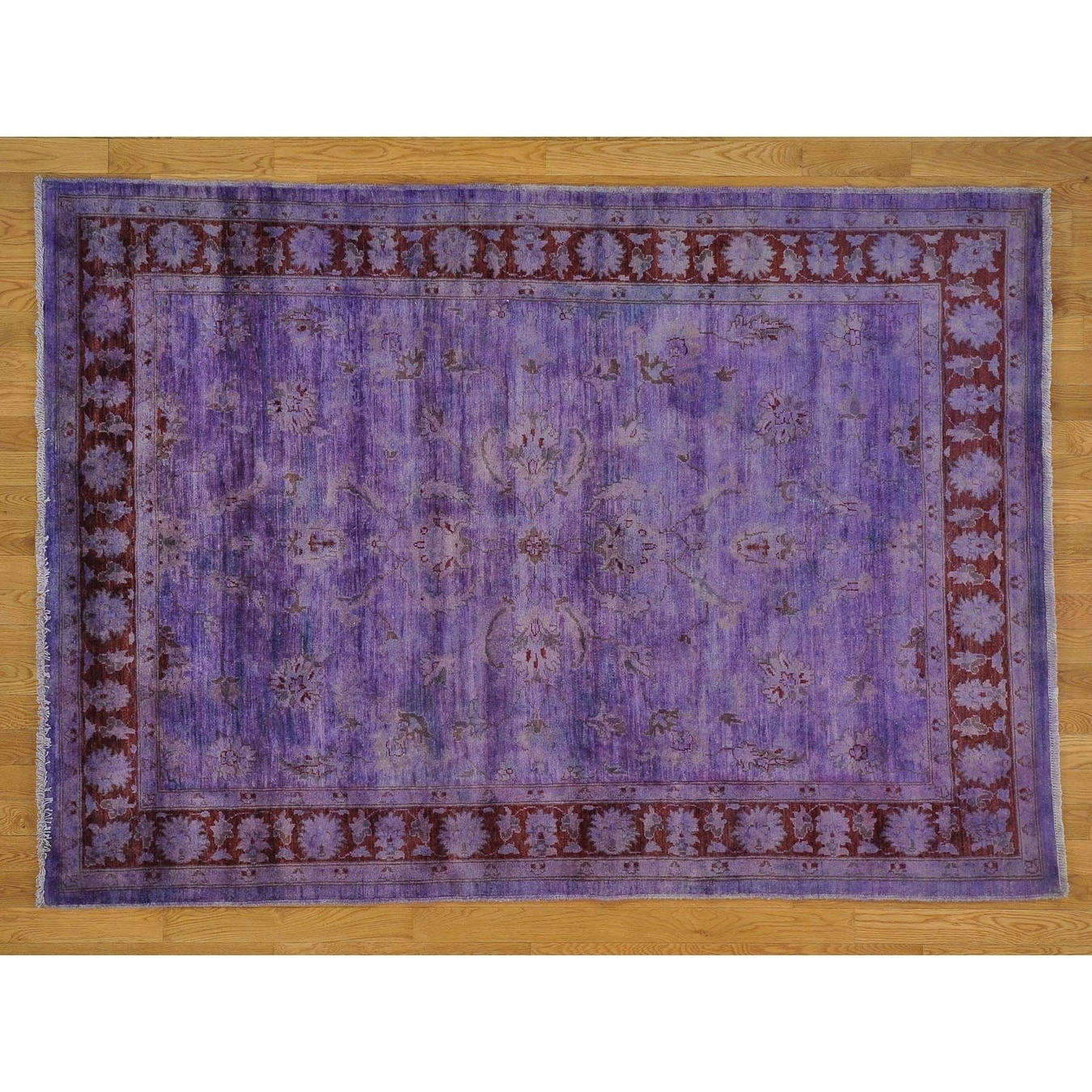 Hand Knotted Purple Oushak And Peshawar with Wool Oriental Rug - 58 x 710