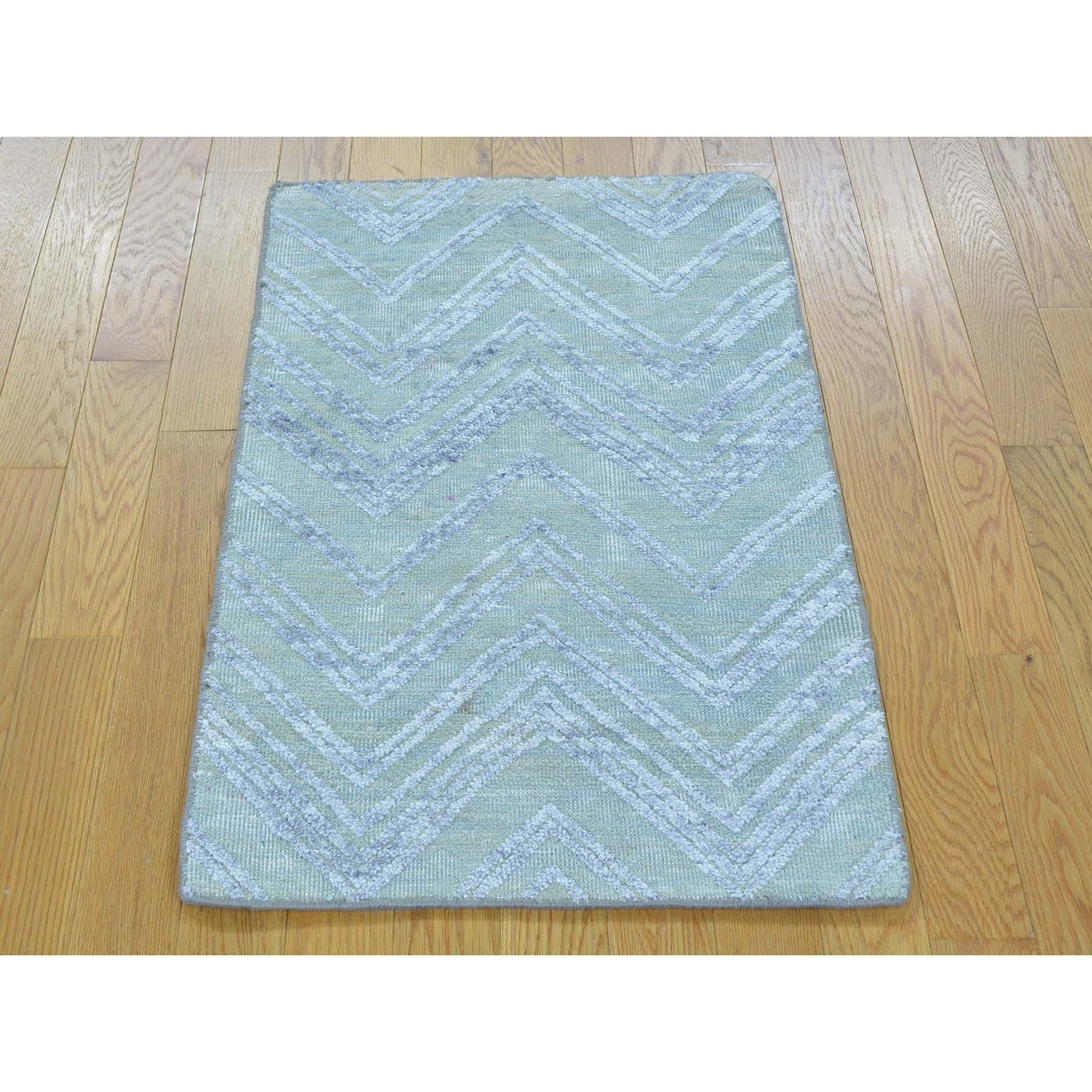 Hand Knotted Blue Modern & Contemporary with Wool & Silk Oriental Rug - 2 x 31