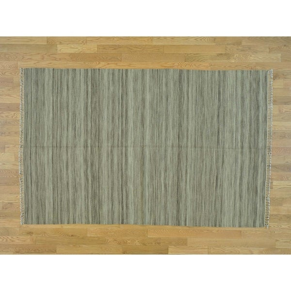 Hand Knotted Beige Flat Weave with Wool Oriental Rug - 5'1 x 8'
