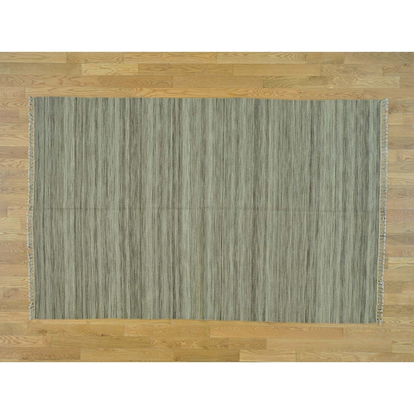 Hand Knotted Beige Flat Weave with Wool Oriental Rug - 51 x 8