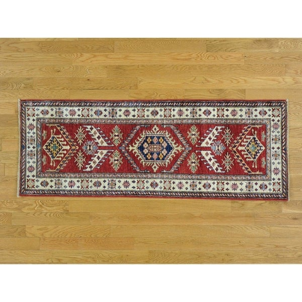 Hand Knotted Red Kazak with Wool Oriental Rug - 2'2 x 5'10