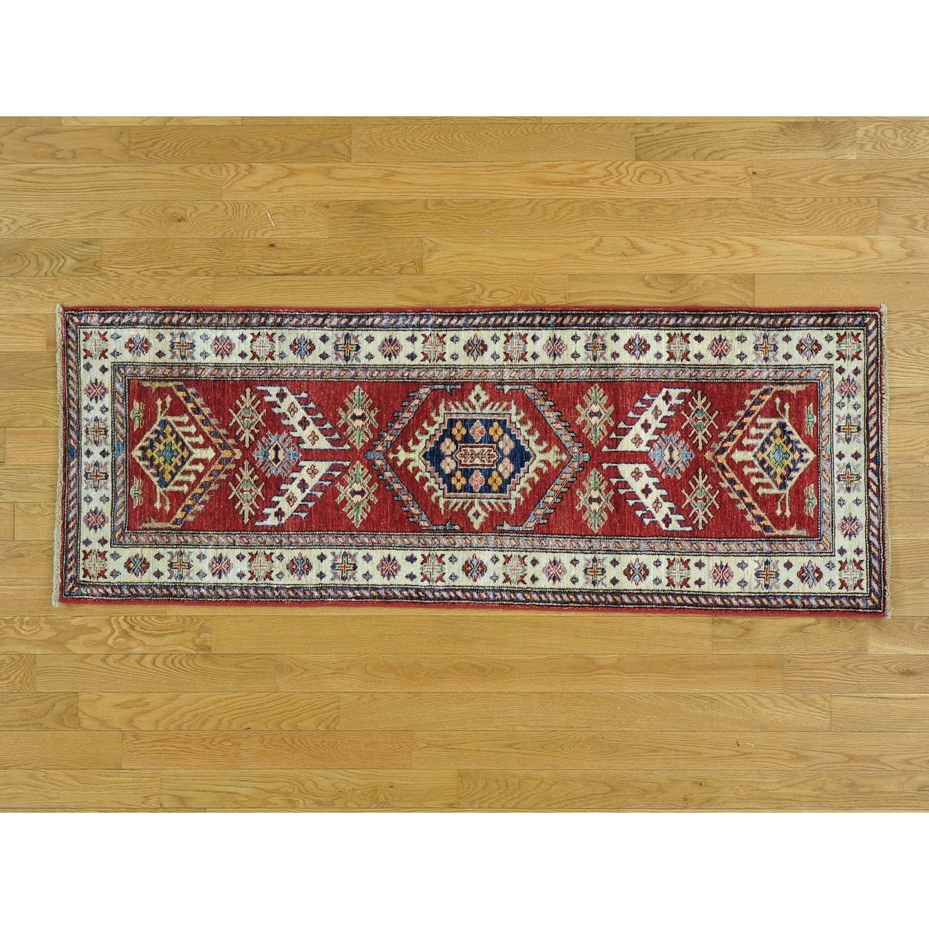 Hand Knotted Red Kazak with Wool Oriental Rug - 22 x 510