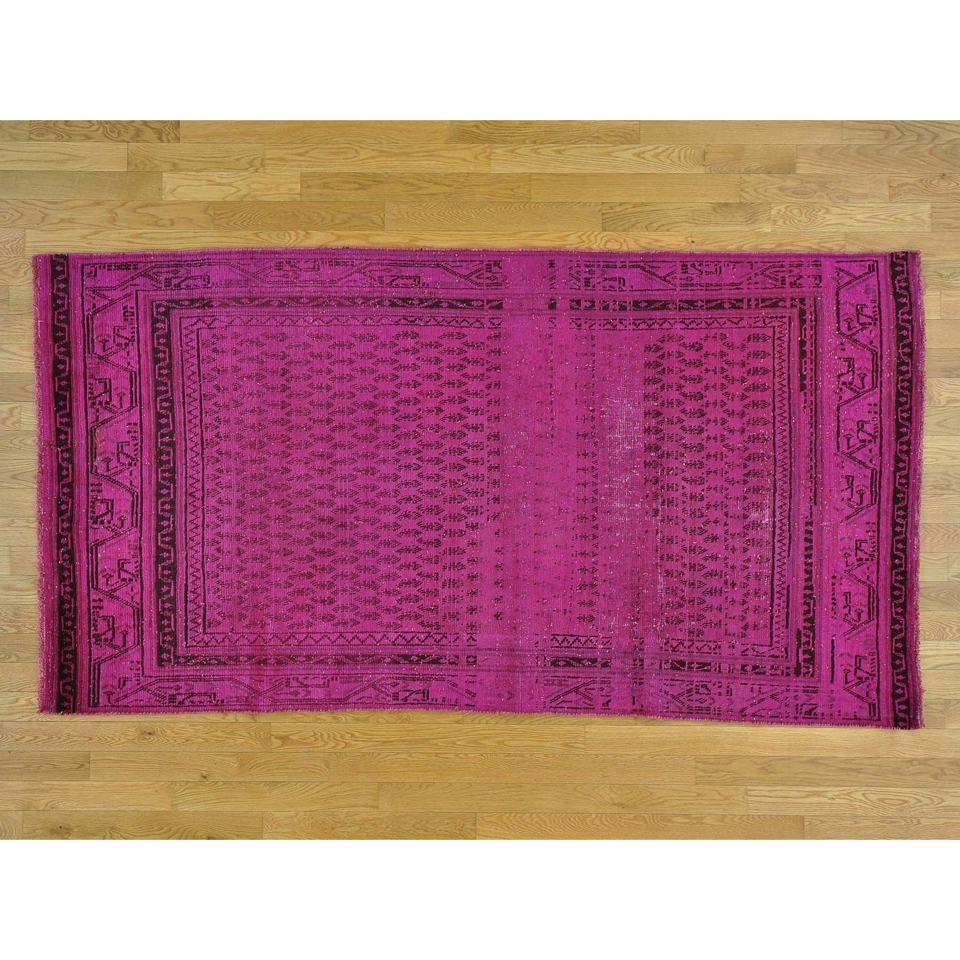 Hand Knotted Pink Overdyed & Vintage with Wool Oriental Rug - 44 x 82