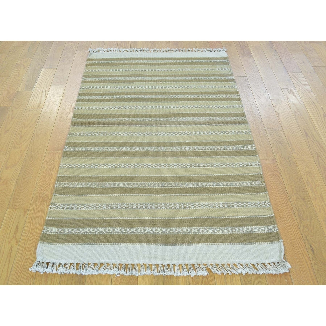 Hand Knotted Beige Flat Weave with Wool Oriental Rug - 29 x 5