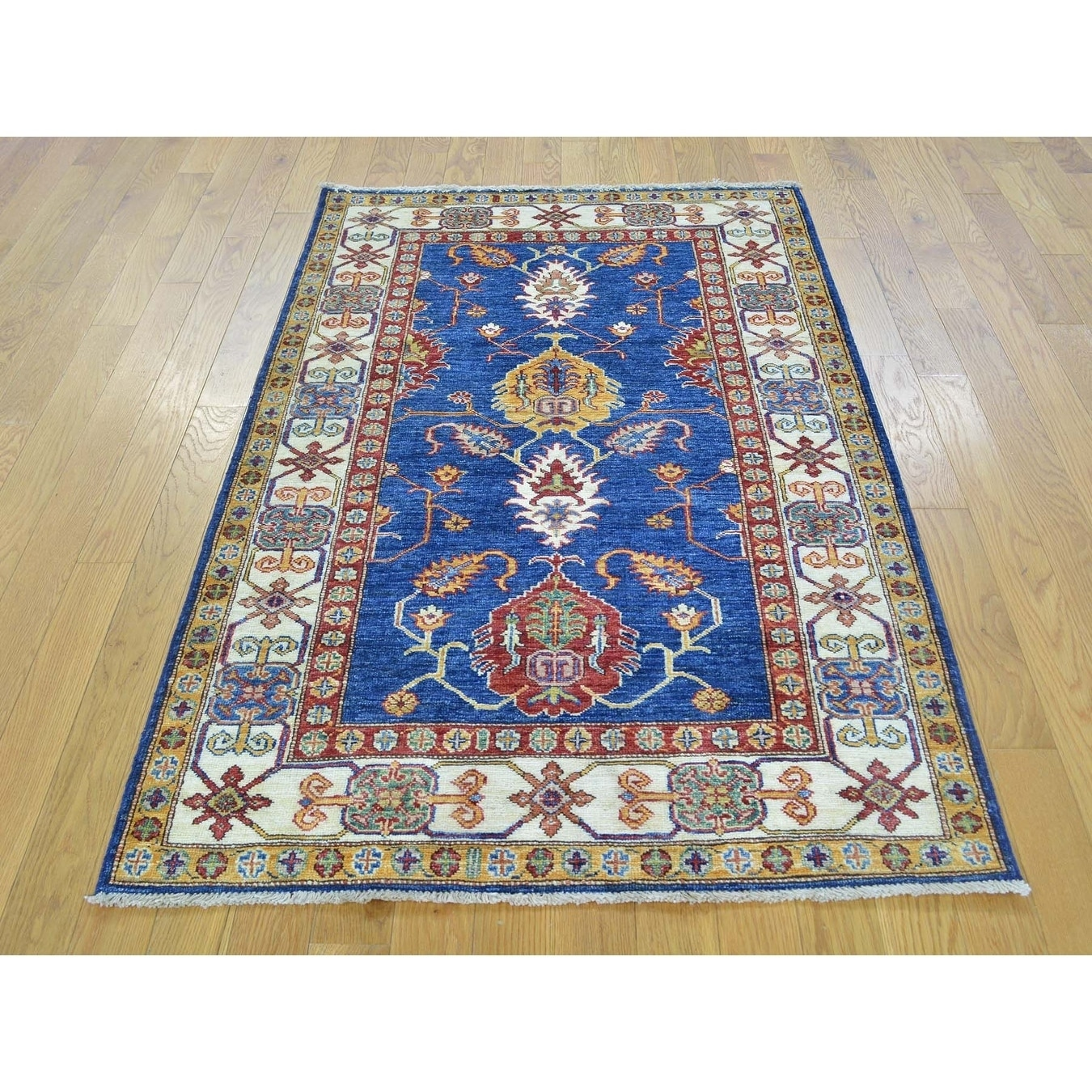 Hand Knotted Blue Kazak with Wool Oriental Rug - 32 x 51