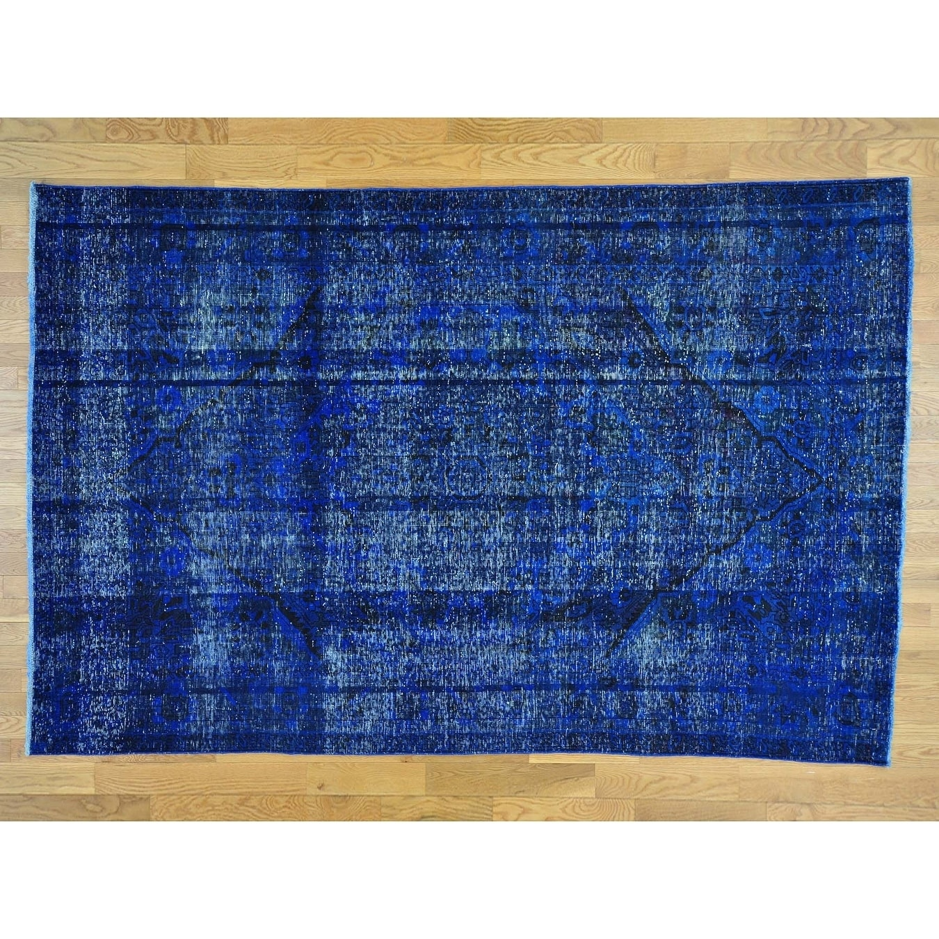 Hand Knotted Blue Overdyed & Vintage with Wool Oriental Rug - 67 x 101