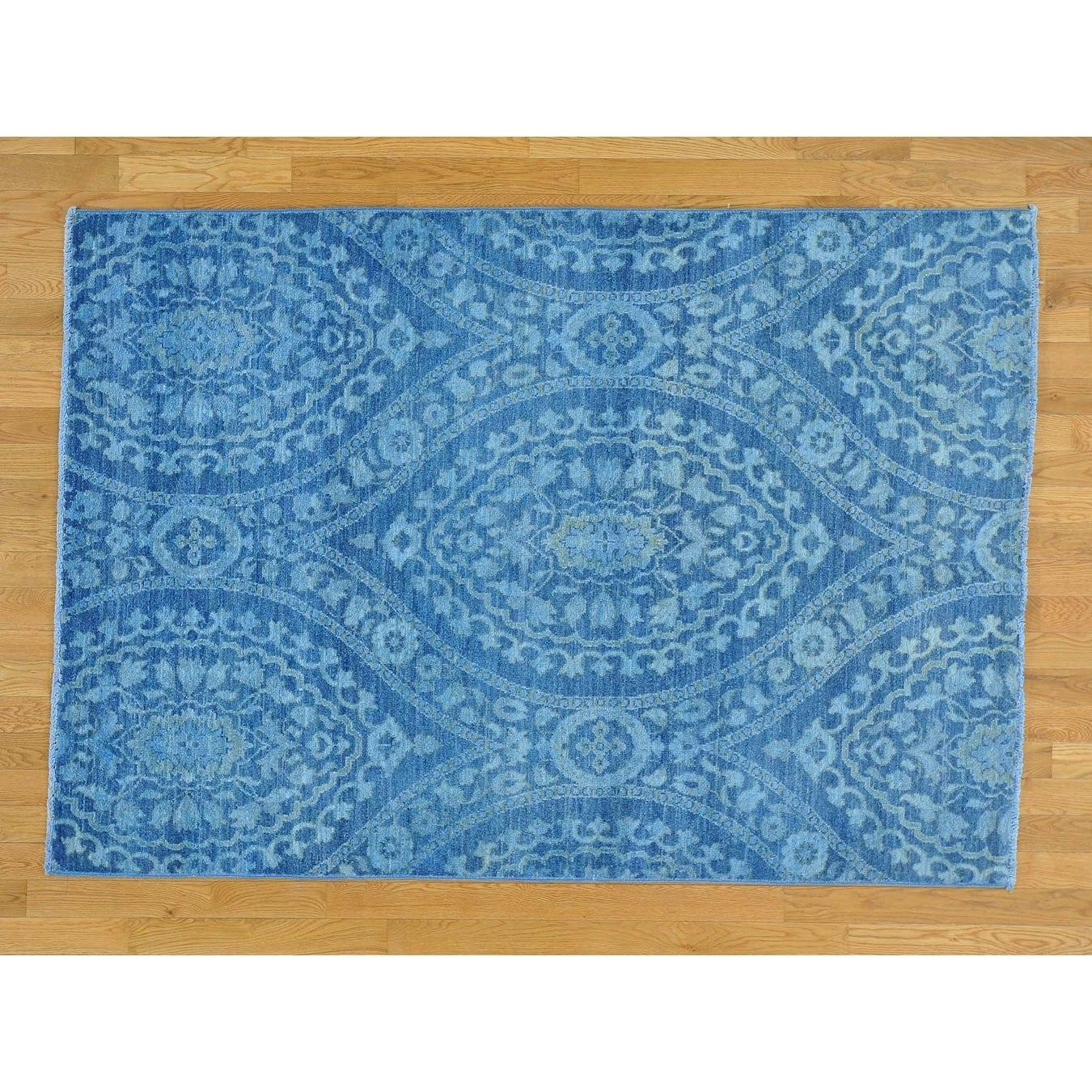 Hand Knotted Blue Oushak And Peshawar with Wool Oriental Rug - 5 x 72
