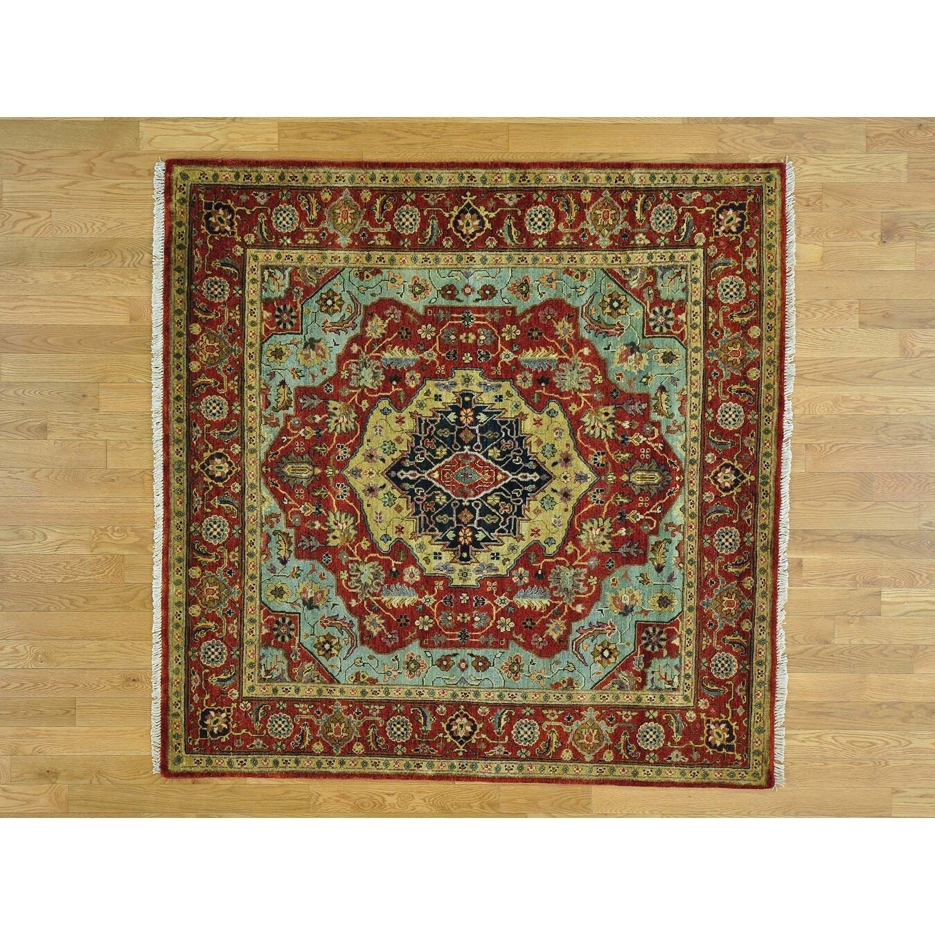 Hand Knotted Red Heriz with Wool Oriental Rug - 510 x 510