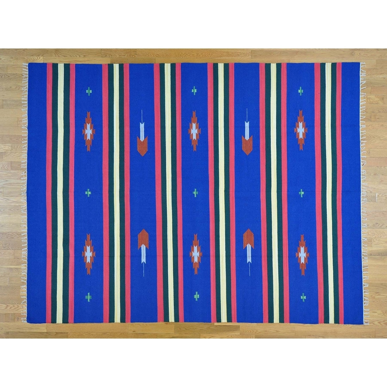 Hand Knotted Blue Flat Weave with Cotton Oriental Rug - 8 x 102