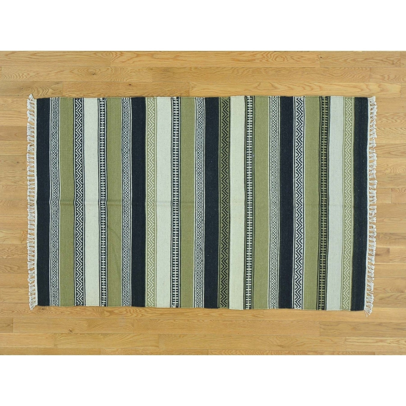 Hand Knotted Multicolored Flat Weave with Wool Oriental Rug - 310 x 61