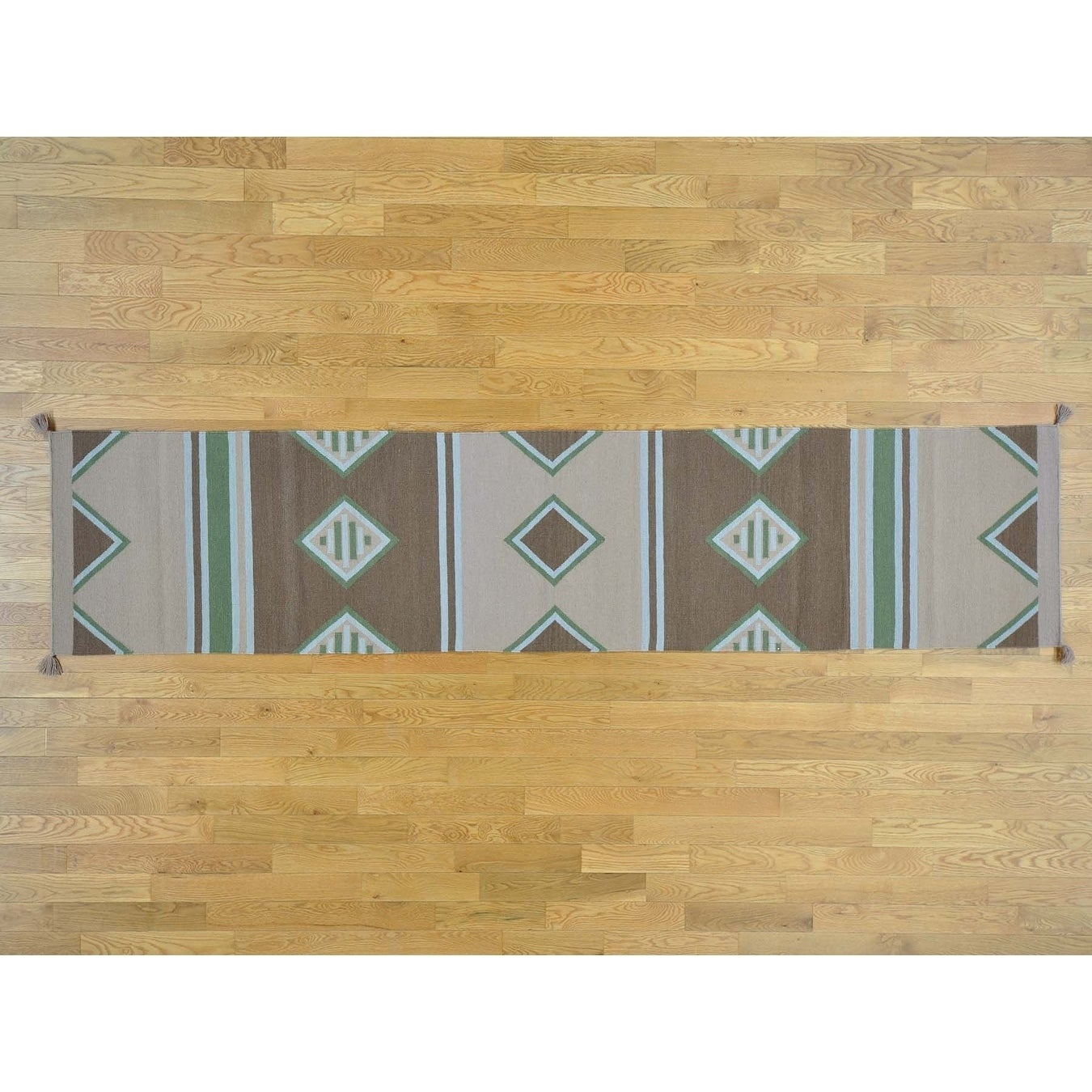 Hand Knotted Multicolored Flat Weave with Wool Oriental Rug