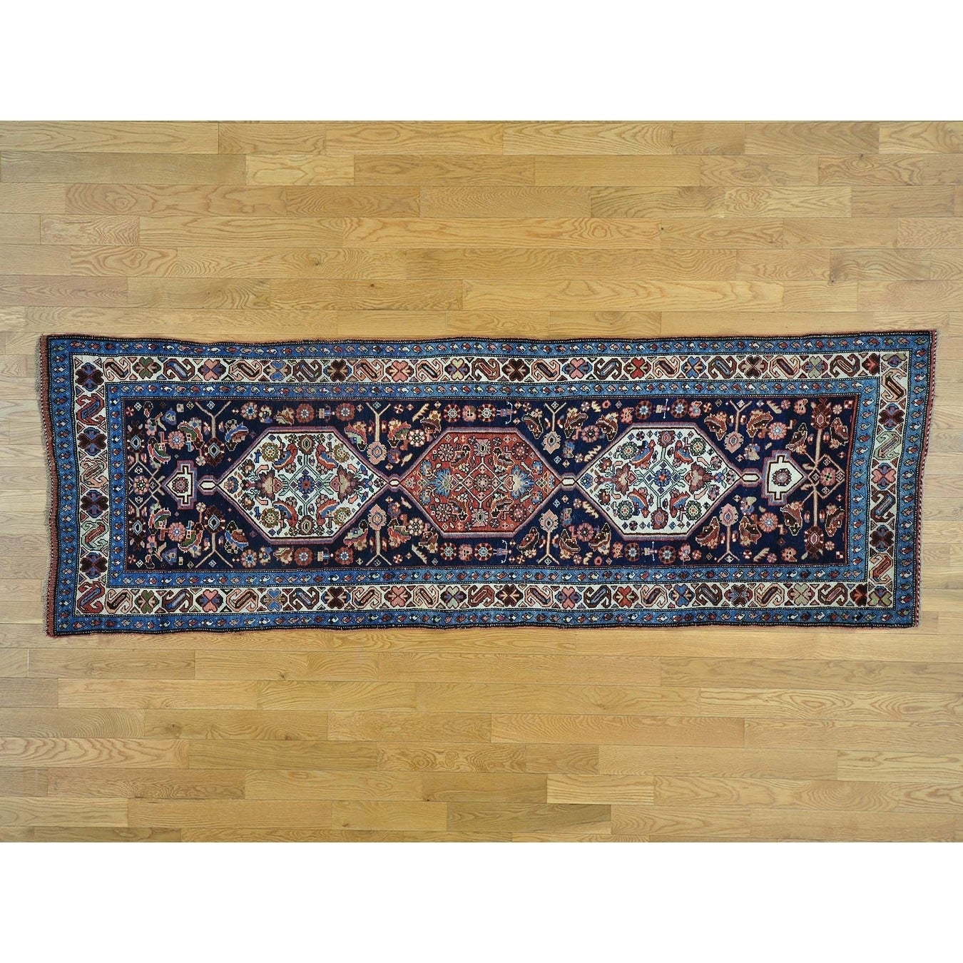 Hand Knotted Blue Antique with Wool Oriental Rug - 37 x 109